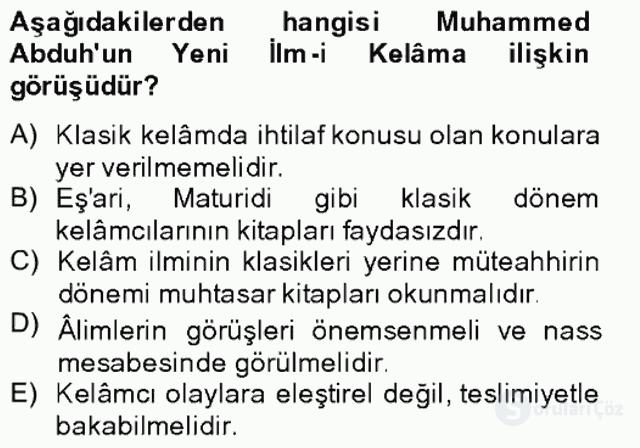 Kelâm'a Giriş Bahar Final 11. Soru