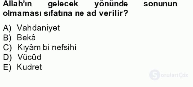 Kelâm'a Giriş Bahar Final 16. Soru