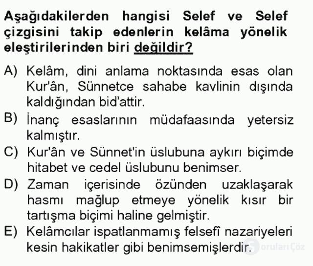Kelâm'a Giriş Bahar Final 20. Soru