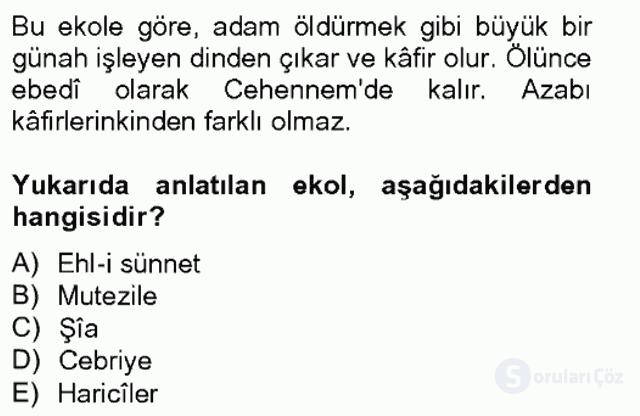 Kelâm'a Giriş Bahar Final 3. Soru