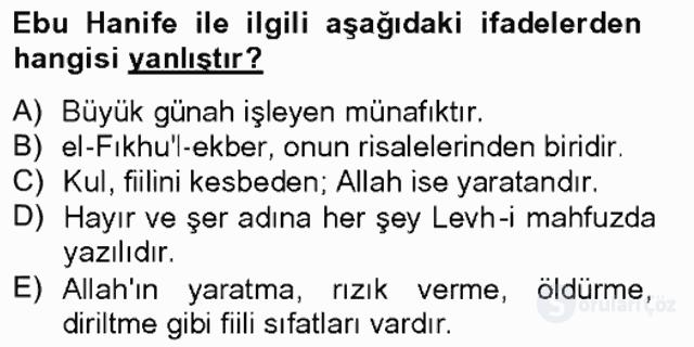 Kelâm'a Giriş Bahar Final 4. Soru