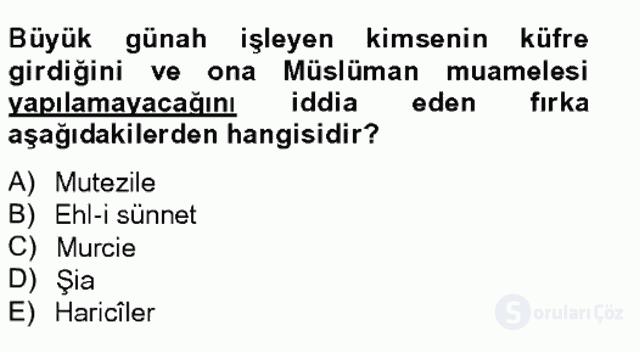 Kelâm'a Giriş Bahar Final 7. Soru