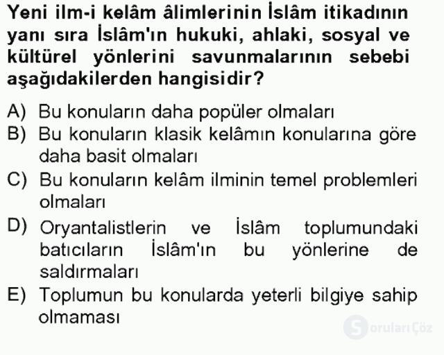 Kelâm'a Giriş Bahar Final 9. Soru