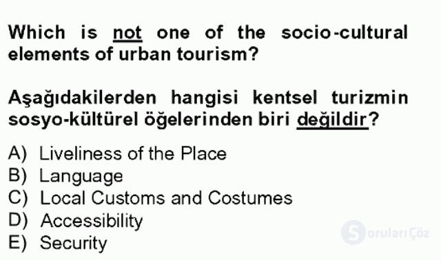 Turizm İçin İngilizce II Bahar Final 3. Soru
