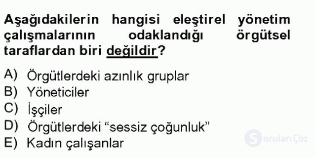 Örgüt Kuramı Bahar Final 14. Soru