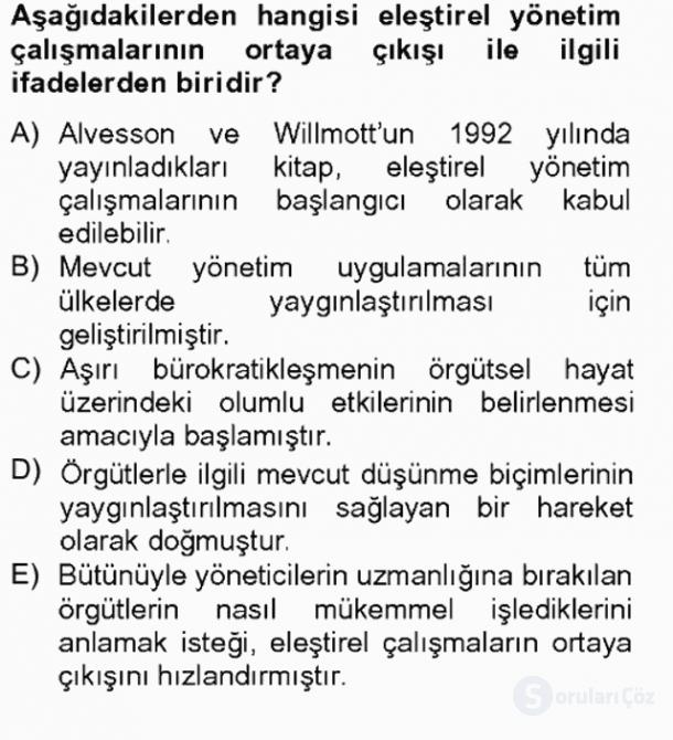 Örgüt Kuramı Bahar Final 15. Soru