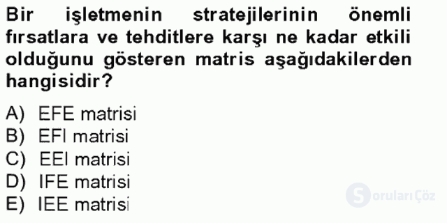 Stratejik Yönetim II Bahar Final 18. Soru
