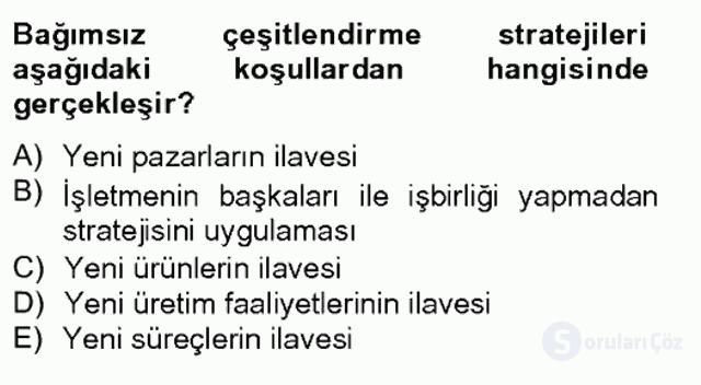 Stratejik Yönetim II Bahar Final 5. Soru