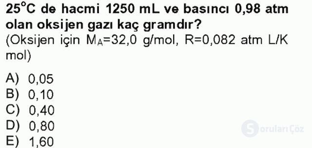 Genel Kimya II Bahar Final 1. Soru