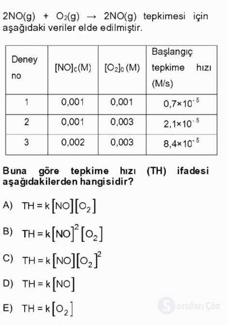 Genel Kimya II Bahar Final 11. Soru