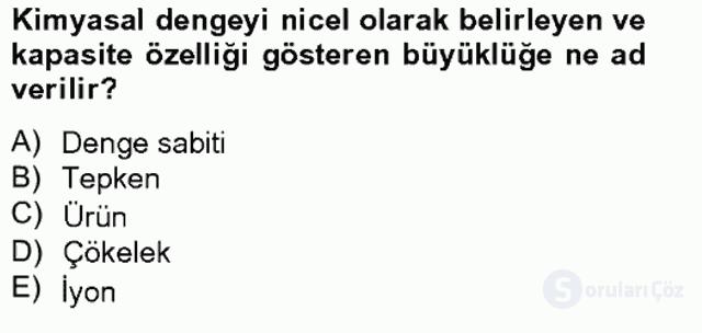 Genel Kimya II Bahar Final 16. Soru
