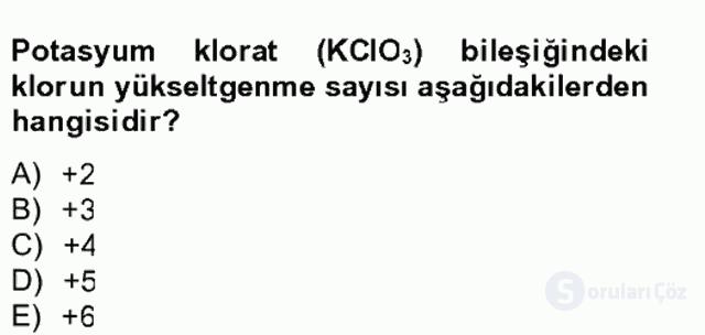 Genel Kimya II Bahar Final 17. Soru
