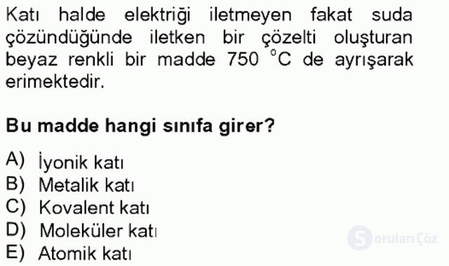 Genel Kimya II Bahar Final 5. Soru
