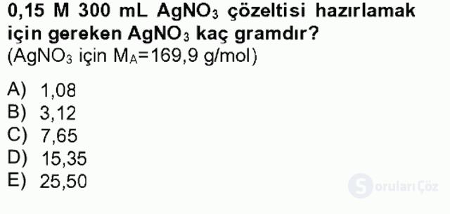 Genel Kimya II Bahar Final 8. Soru