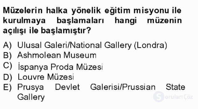 Müzecilik ve Sergileme Bahar Final 13. Soru