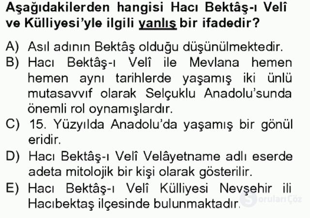 Türkiye'nin Kültürel Mirası II Bahar Final 1. Soru
