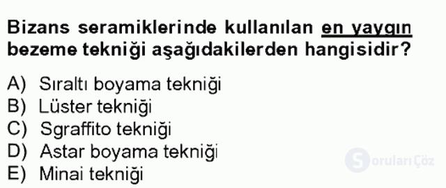Türkiye'nin Kültürel Mirası II Bahar Final 10. Soru
