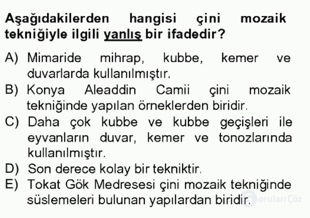 Türkiye'nin Kültürel Mirası II Bahar Final 9. Soru