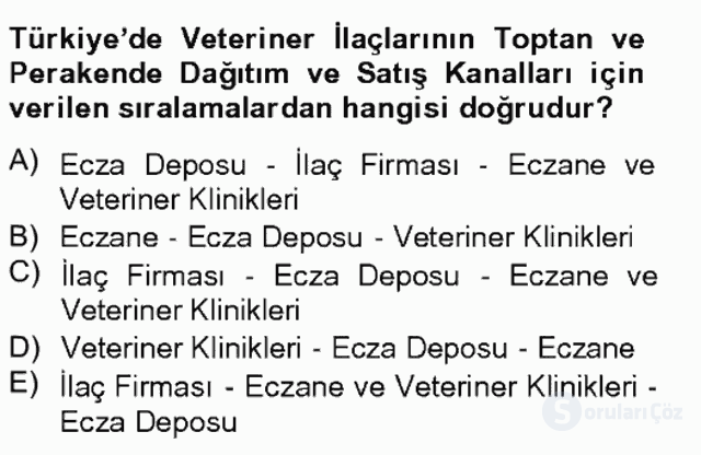 Temel Veteriner Farmakoloji ve Toksikoloji Bahar Final 8. Soru