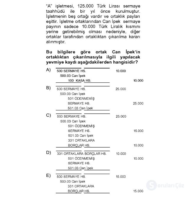 Genel Muhasebe II Bahar Dönemi Final 8. Soru