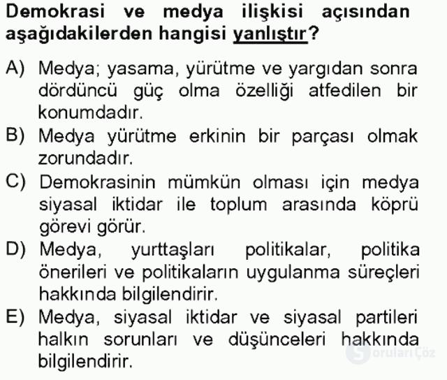 Medya Siyaset Kültür Bahar Final 7. Soru