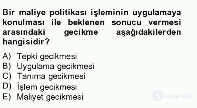 Maliye Politikası Bahar Final 13. Soru