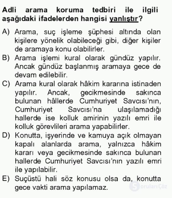 Temel Ceza Muhakemesi Hukuku Bilgisi Bahar Final 11. Soru