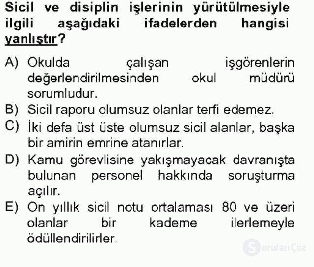 Türk Eğitim Sistemi ve Okul Yönetimi Bahar Final 12. Soru