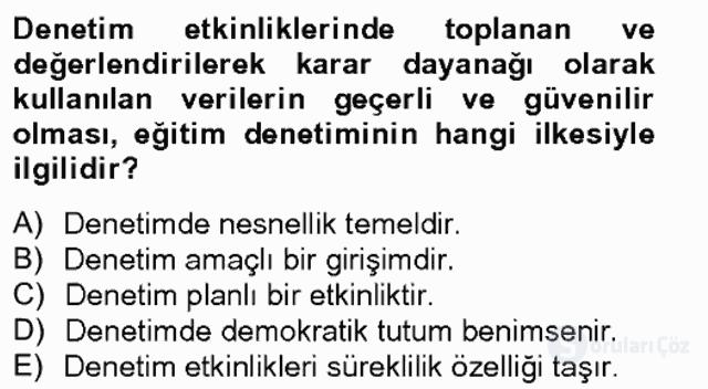 Türk Eğitim Sistemi ve Okul Yönetimi Bahar Final 6. Soru