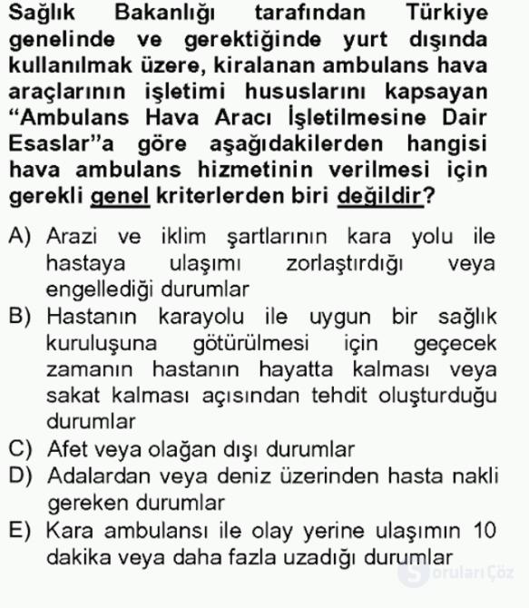 Sağlık Kurumları Mevzuatı Bahar Final 16. Soru