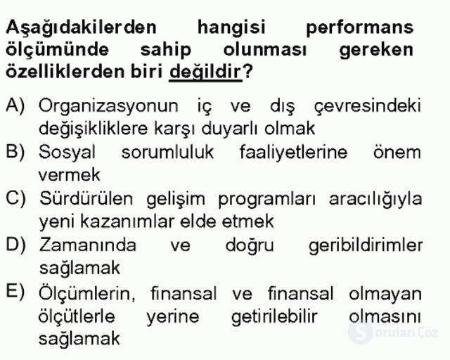 Sağlık Kurumları Yönetimi II Bahar Final 19. Soru