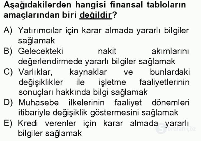 Sağlık Kurumlarında Finansal Yönetim Bahar Final 1. Soru