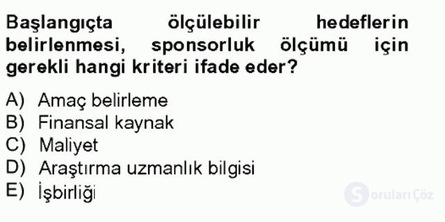 Sporda Sponsorluk Bahar Final 9. Soru