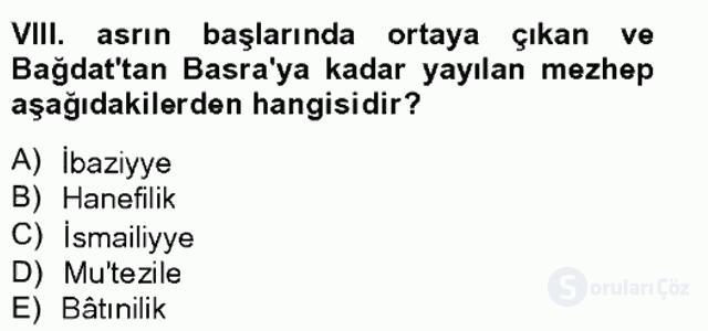İslam Tarihi ve Medeniyeti II Bahar Final 16. Soru