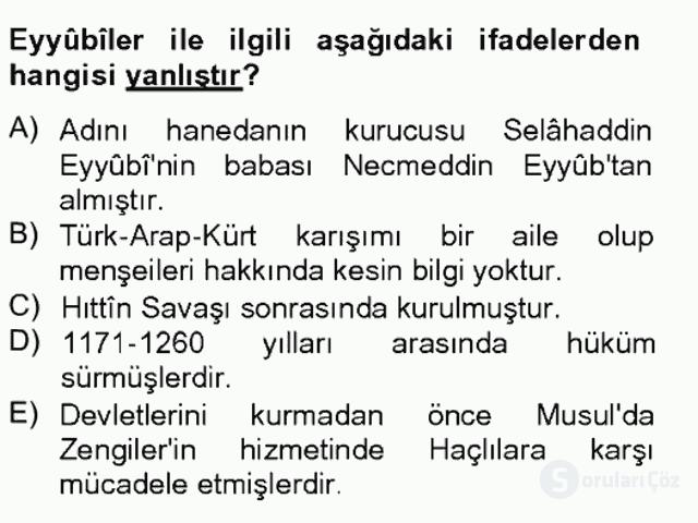 İslam Tarihi ve Medeniyeti II Bahar Final 4. Soru