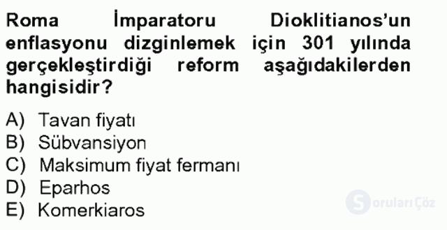 Bizans Tarihi Bahar Final 16. Soru