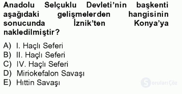 Bizans Tarihi Bahar Final 4. Soru