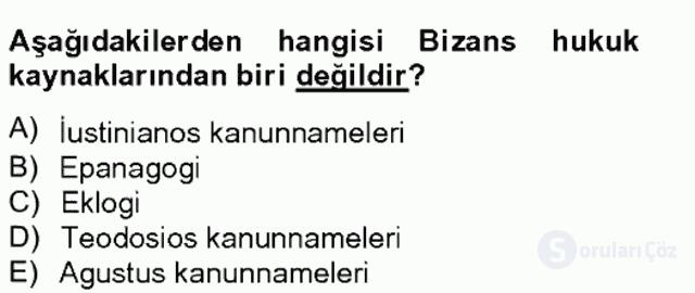 Bizans Tarihi Bahar Final 8. Soru