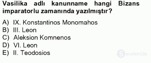 Bizans Tarihi Bahar Final 9. Soru