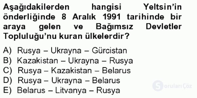 Siyasi Tarih II Bahar Final 13. Soru