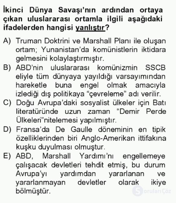 Siyasi Tarih II Bahar Final 3. Soru