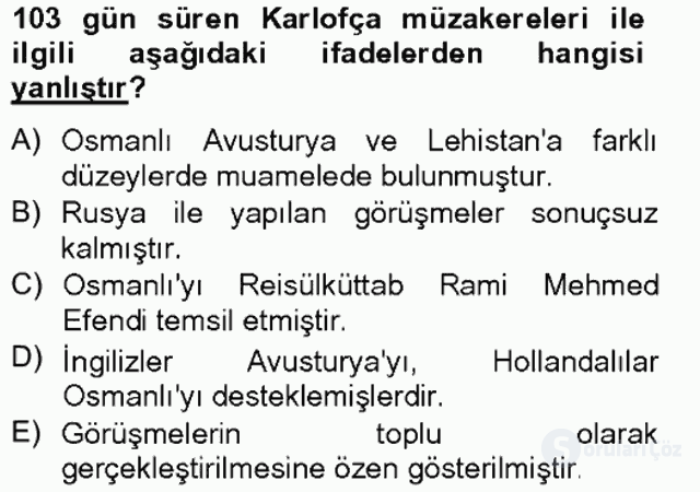 Osmanlı Tarihi (1566–1789) Bahar Final 11. Soru