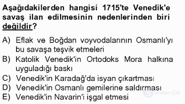 Osmanlı Tarihi (1566–1789) Bahar Final 12. Soru