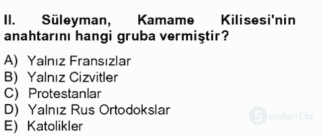 Osmanlı Tarihi (1566–1789) Bahar Final 6. Soru