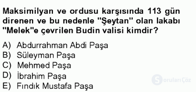 Osmanlı Tarihi (1566–1789) Bahar Final 7. Soru