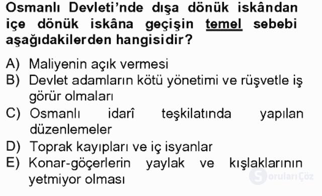 Osmanlıda İskan ve Göç Bahar Final 1. Soru