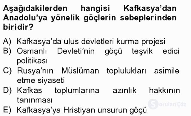 Osmanlıda İskan ve Göç Bahar Final 11. Soru