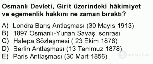 Osmanlıda İskan ve Göç Bahar Final 12. Soru