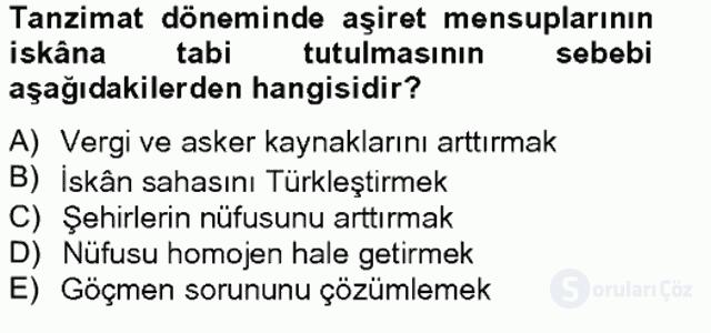Osmanlıda İskan ve Göç Bahar Final 14. Soru