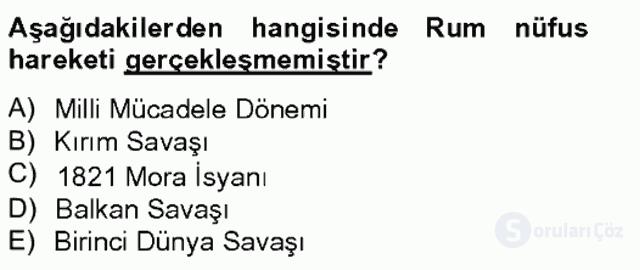 Osmanlıda İskan ve Göç Bahar Final 15. Soru